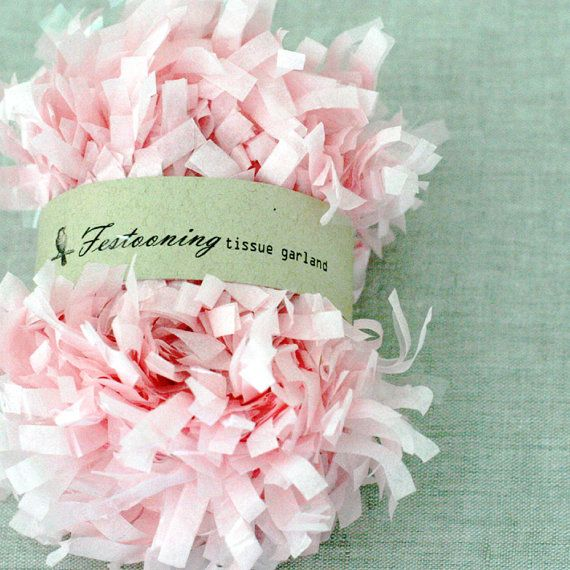 4 Yds of Pink Tissue Garland by caramelos on Etsy, $3.70