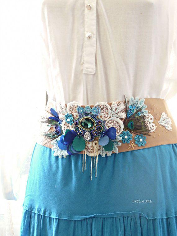 FREE SHIPPING - Bohemian belt, art deco belt, bridal wedding belt, floral belt, beige and blue, unique piece
