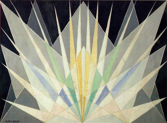 This is a painting by Giacomo Balla, Radial Iridescent Interpretation (Prismatic Vibrations), in 1913-1914.