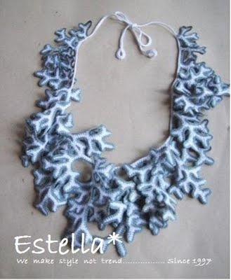 Exotic coral necklace.  Hand crochet whole piece.  $40.00