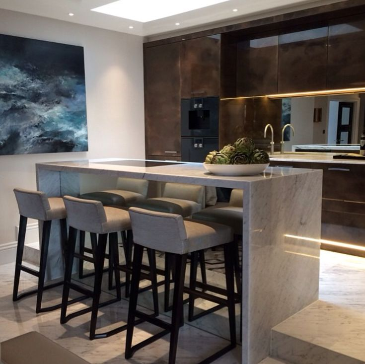 I LOVE The Marble Transition From The Floor To The Breakfast Bar Island.  Stunning! Part 34