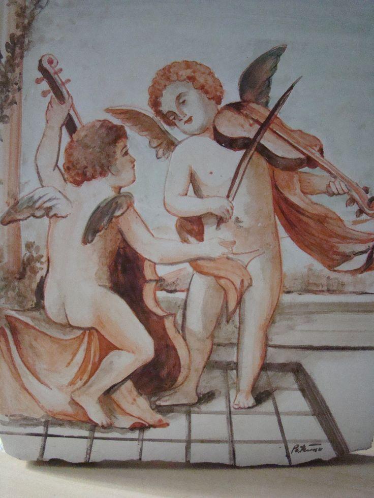 Cherubini,Affresco 16x25 cm.