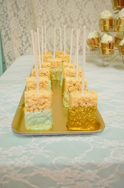 Sparkly Rice Krispie treats at a vintage, gold and mint Baby Shower!  See more party ideas at CatchMyParty.com!