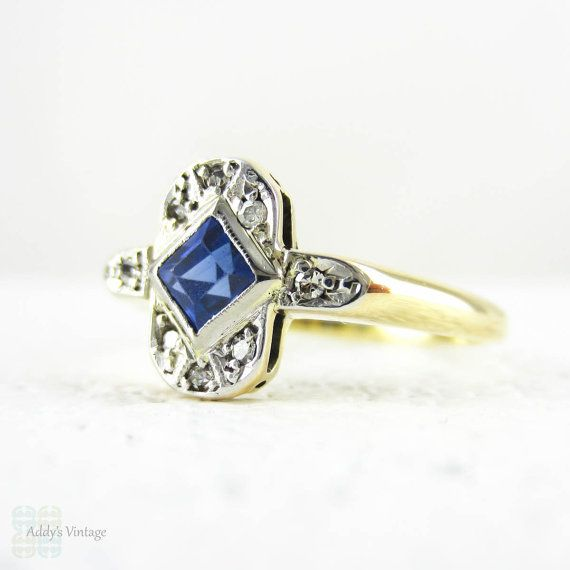 Art Deco Sapphire & Diamond Engagement Ring. Square Step by Addy