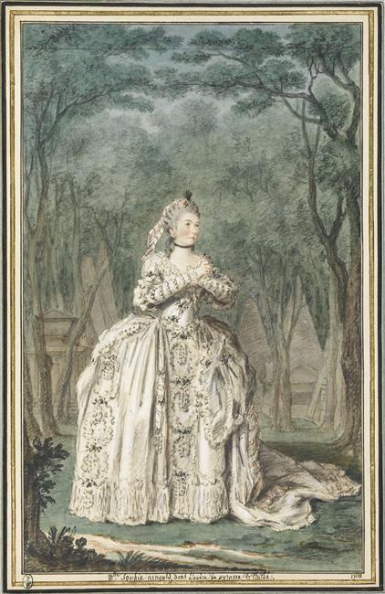Portrait de Mademoiselle Sophie d'Arnoult (1744-1803), dans l'opéra de Pyrame et Thisbé 1760 Tome 6 N° 33