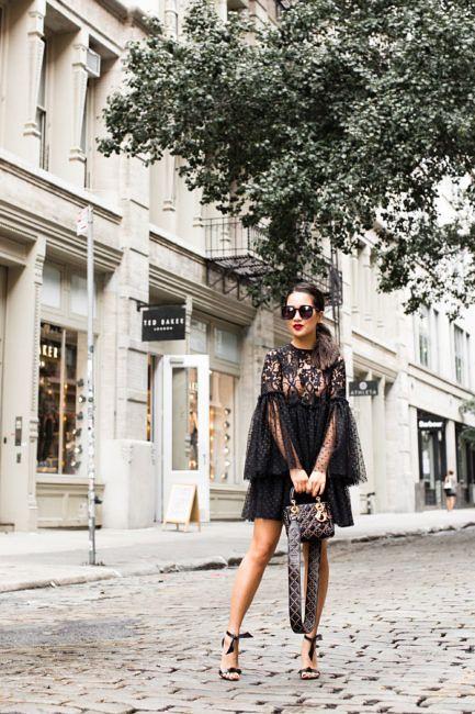 Dark Romance :: Lace polka dot dress & Tie sandals | Wendy's Lookbook | Bloglovin'