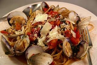 spicey clam linguini