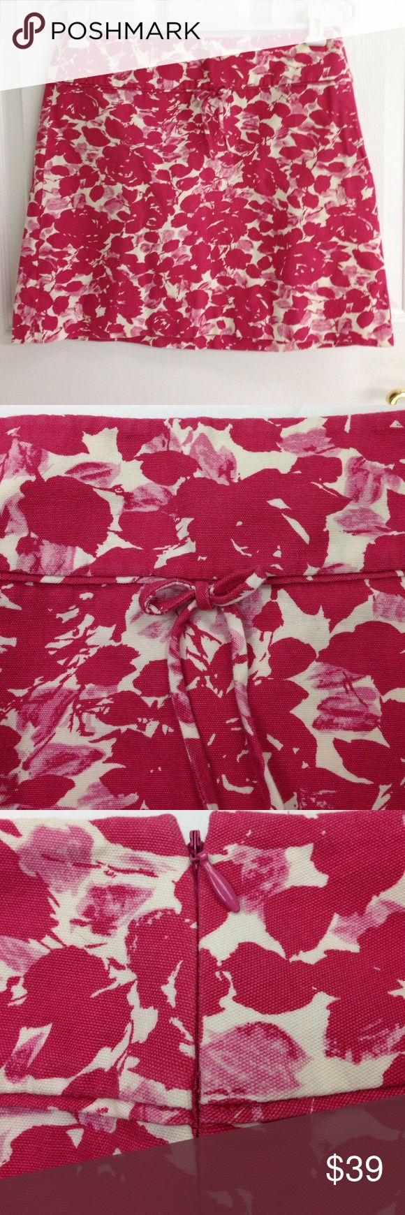 """J. Crew Pink and White Skirt HOST PICK J. Crew hot pink and creamy white floral skirt. Side zipper. Skirt is not lined. Size 6 Skirt length 17"""". Waste 15"""" across laying flat. 100% cotton. In excellent pre worn condition. J. Crew Skirts Mini"""