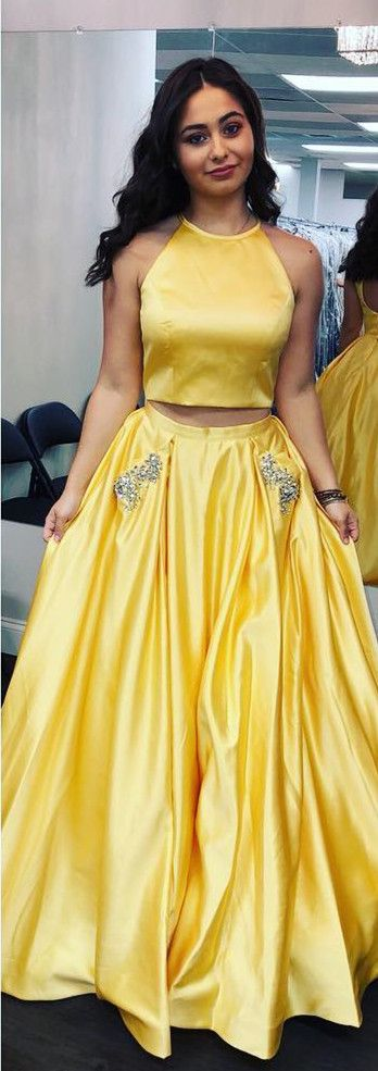 two piece yellow long prom dress, 2018 prom dress, elegant two piece yellow long prom dress with pockets
