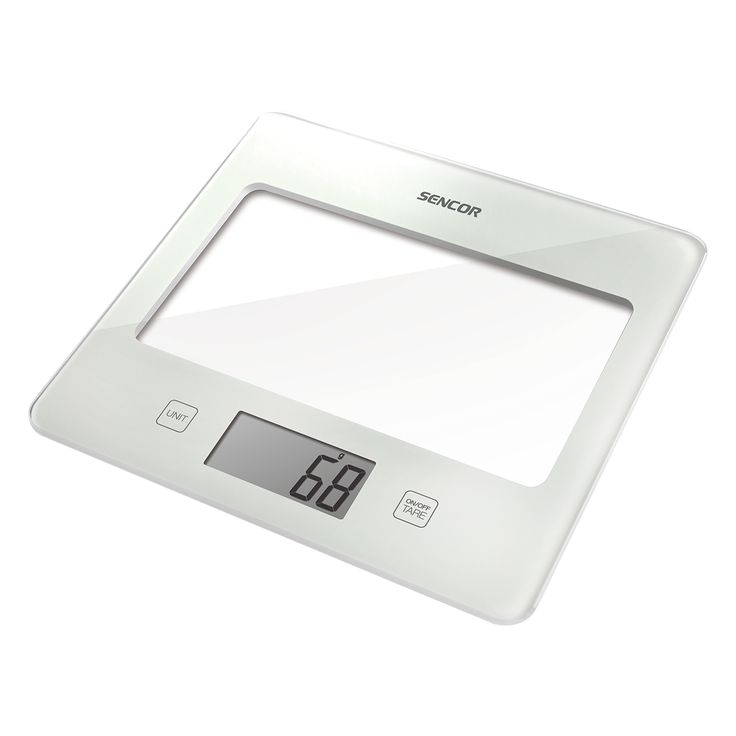 Sencor Kitchen Scale SKS 5011WH - Ultra slim design (height only 16 mm) - Large LCD display (55 x 25 mm) - Successive weighing function