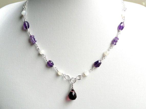 Amethyst necklace  moonstone necklace  by handmadeintoronto, $55.00