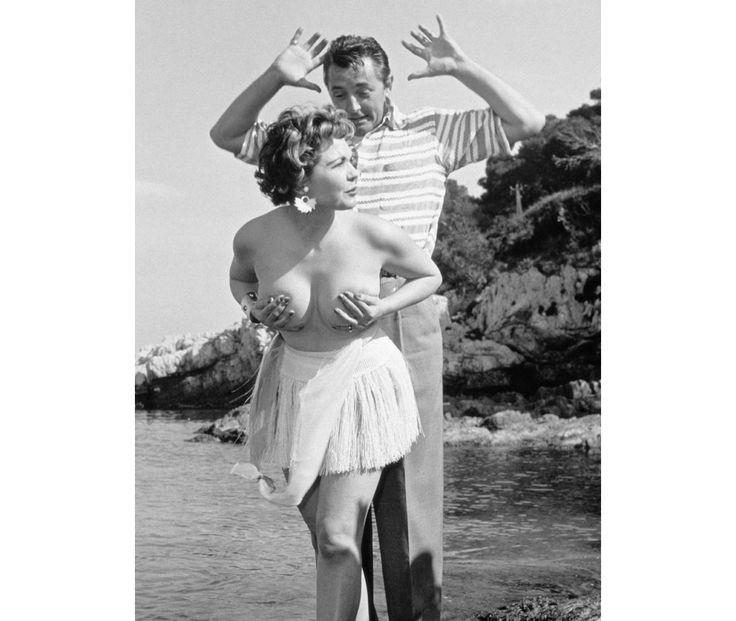 Simone Silva and Robert Mitchum-Cannes 1954