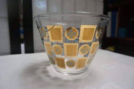 VINTAGE glass container with gold medallions by blingblingfling