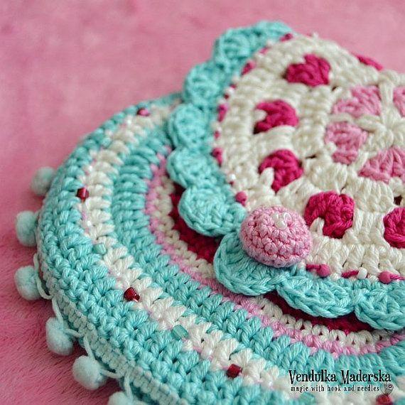 Hearts purse  crochet pattern purse DIY by VendulkaM on Etsy, $5.30