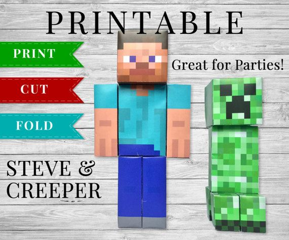 Minecraft Inspired Printable Mobs Characters Steve Creeper Party Printables Supplies