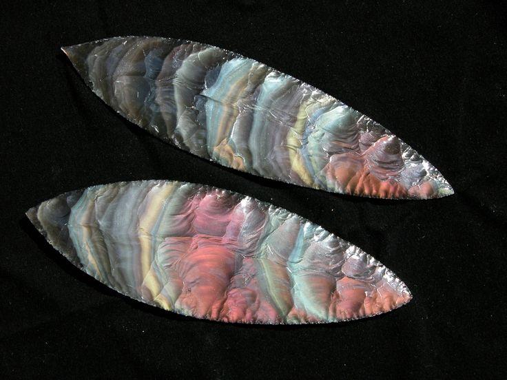 Spectacular rainbow obsidian blades