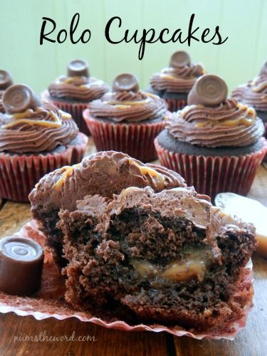 Num's the Word:  The caramel filling in these cupcakes is TO DIE FOR!  Chocolate cupcakes, filled with homemade caramel sauce {easy}, topped with chocolate buttercream, drizzled in more caramel and topped with a Rolo.  Best cupcakes I've ever had!