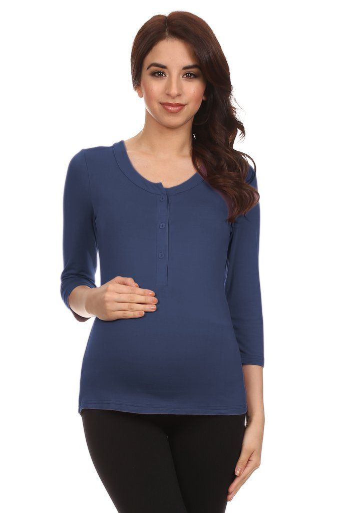 f9a1beea99271 Henley Button Top 3/4 Sleeve Maternity Nursing Top   Our Products ...
