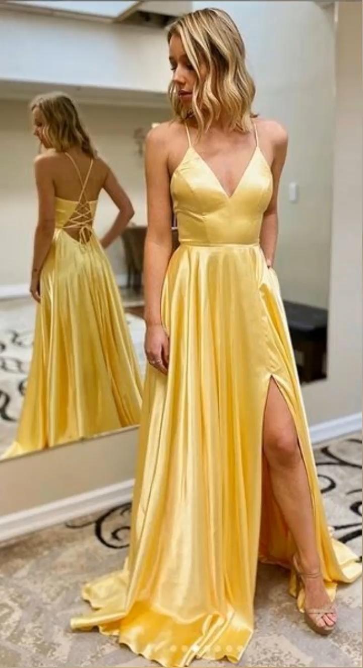 yellow satin long prom dress party dress NN114 [Video ...