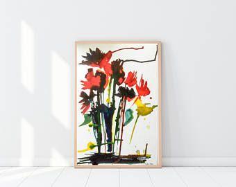 ORIGINAL AQUARELL Acryl abstrakte Malerei Art Kunst Blumen Mischtechnik bunte Aquarell Blumen - Artikel bearbeiten - Etsy