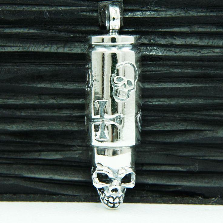 BULLET Wz SKULL HEAD 925 STERLING SILVER BIKER PENDANT jo-026 #Handmade #Pendant