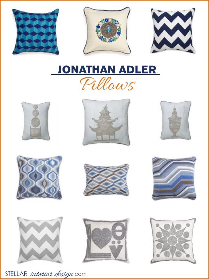 Interior Design Boards, Jonathan Adler, Accent Pillows, Throw Pillows,  Online Interior Design