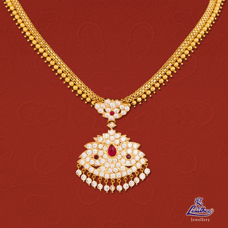 Gold Stone Necklace is a traditional South Indian necklace that is back in trend and has risen to great popularity. #lalithaajewellery  Product code: Stone Necklace002 Check out here: http://bit.ly/1U6n8uT