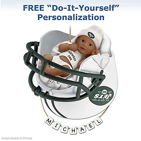 NFL-Licensed New York Jets Personalized Baby's Christmas Ornament