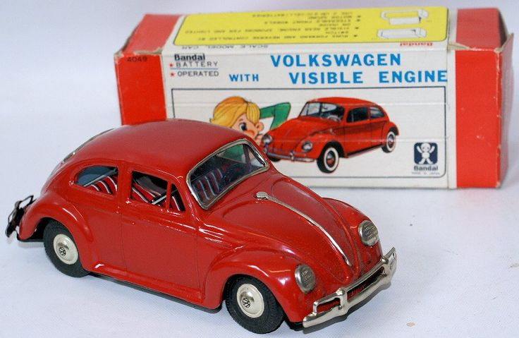 Vintage Tin VW VOLKSWAGEN Beetle Bug with Visible Engine Toy Car, by Bandai…