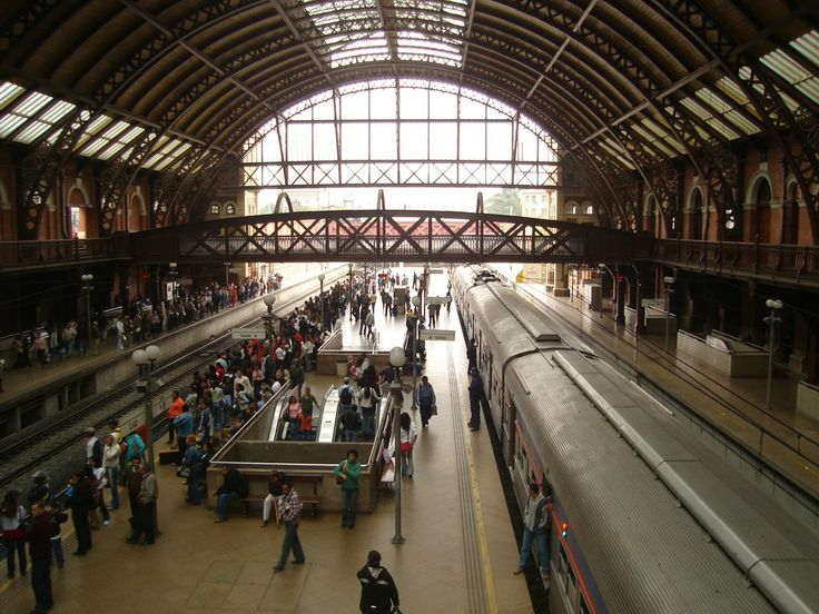A look at Sao Paulo, Brazil, terminal station of light rail...