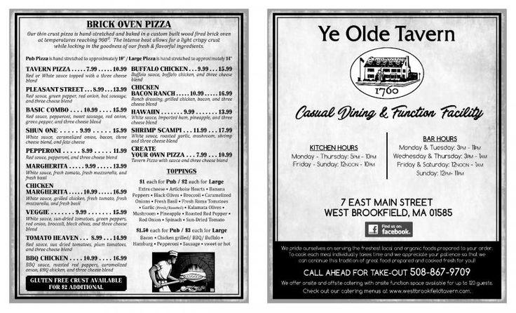 Ye Olde Tavern - Pub Menu