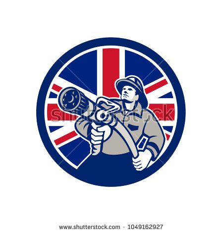 Icon retro style illustration of a British firefighter or fireman holding a fire hose front view  with United Kingdom UK, Great Britain Union Jack flag set inside circle on isolated background.  #firefighter #icon #illustration