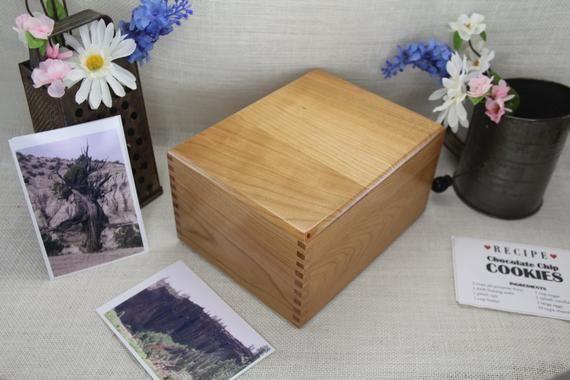 Extended Cherry Recipe Box 4 X 6 Recipe Box Box Wood Recipe Box