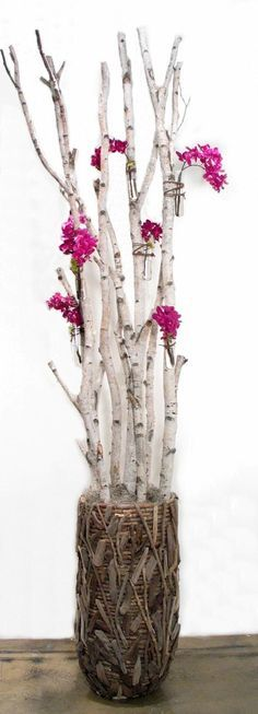 """FL1236   Birch Branches with Purple Orchids in Water Tubes in Driftwood Container  120""""H x 26""""W x 26""""D  $2422 RETAIL  (exact container no longer available)  LDF Silk"""