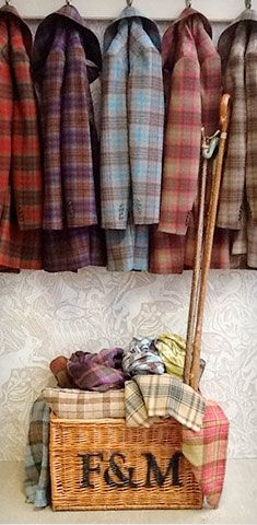 Tartan jackets come in many colors. Red is a classic, but dusty pinks and blues add a softness that plays well with the rich colors of falling leaves!
