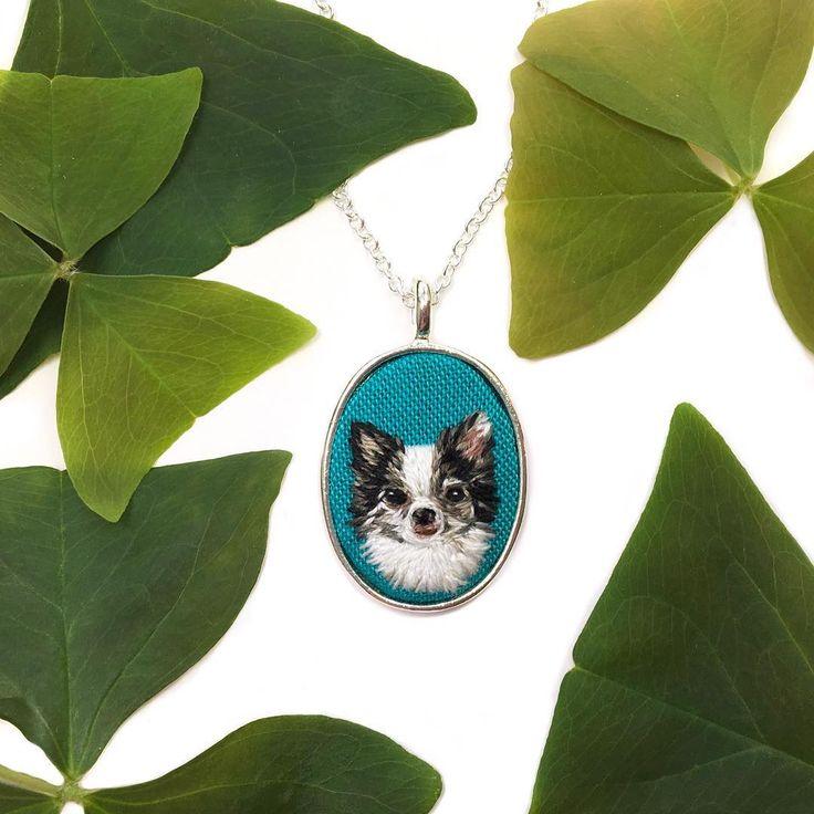 Custom hand embroidered mini pet portrait. www.Thimblethistle.bigcartel.com  #embroidery #thimblethistle #dandelyne #craftsposure #makersmovement #handmadeisbetter…