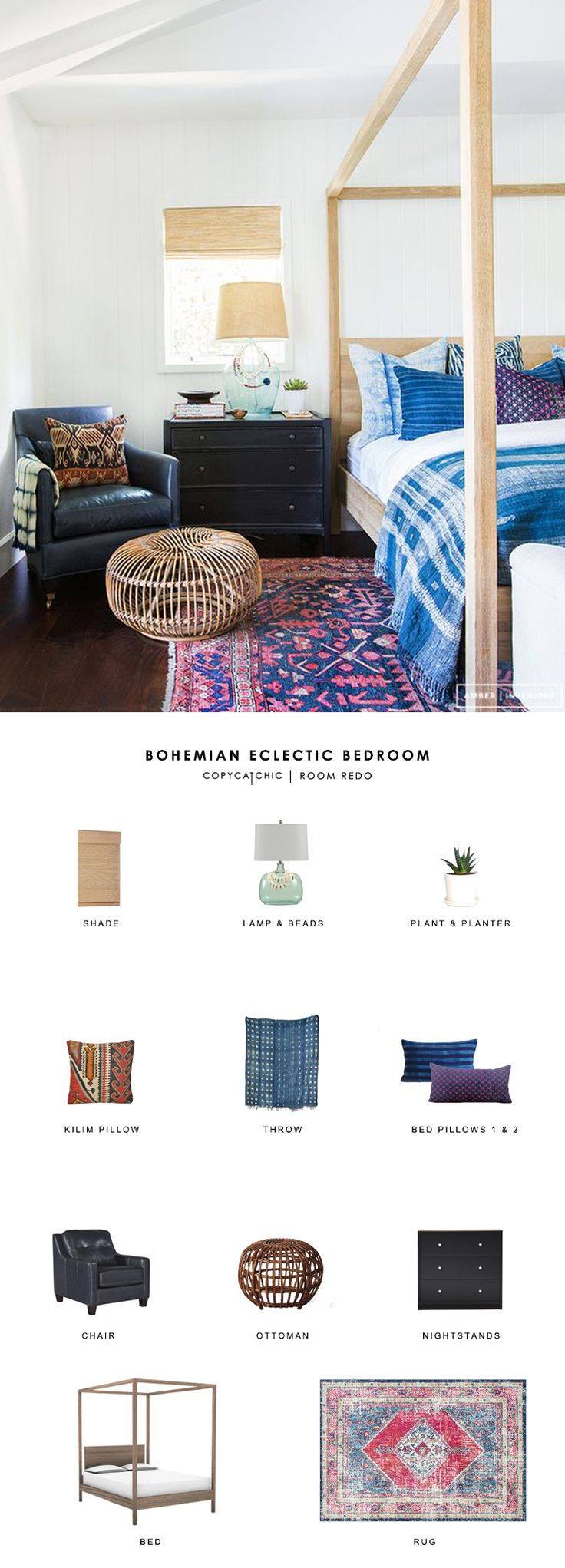 Copy Cat Chic Room Redo | Bohemian Eclectic Bedroom
