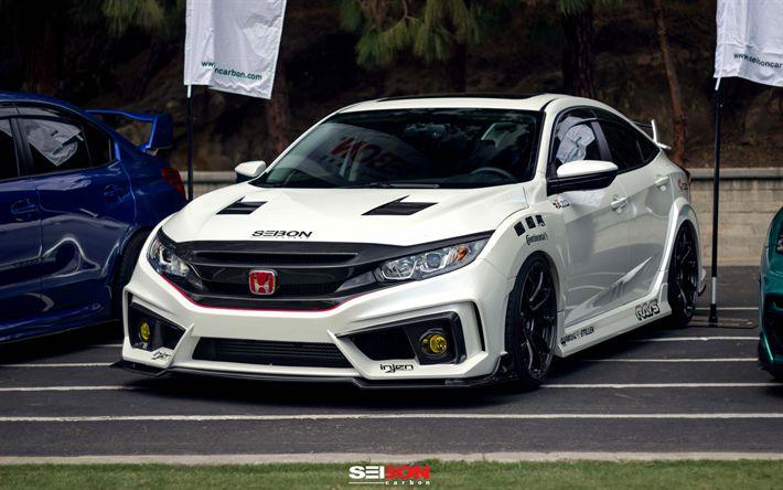 Descargar fondos de pantalla Seibon de Carbono, tuning, 4k, Honda Civic Neumático R, supercars, blanco Cívica, los coches japoneses, Honda
