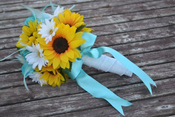 Tiffany Blue Sunflower Bouquet Silk Wedding by MyDayBouquet, $40.00