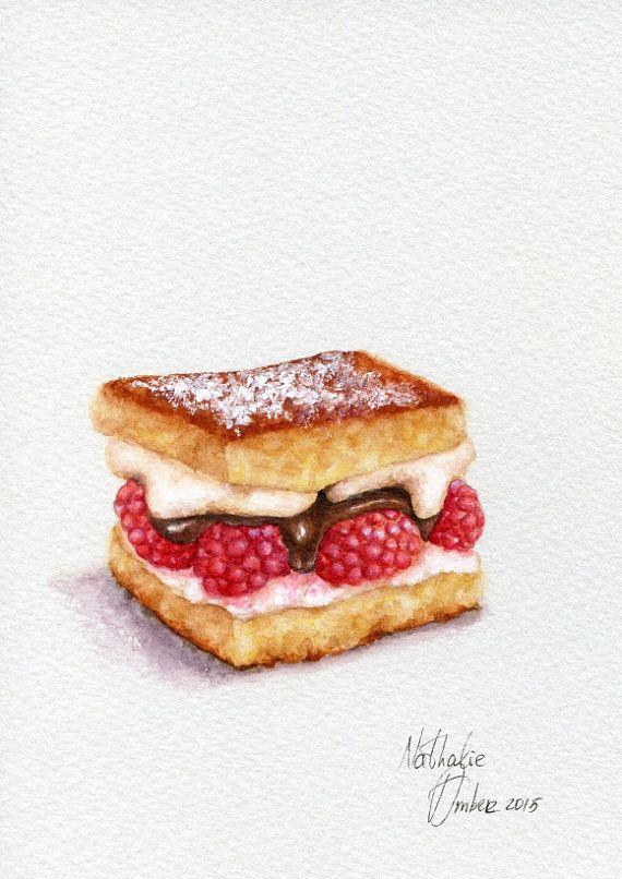 Raspberry shortcake ORIGINAL Painting Desset by ForestSpiritArt