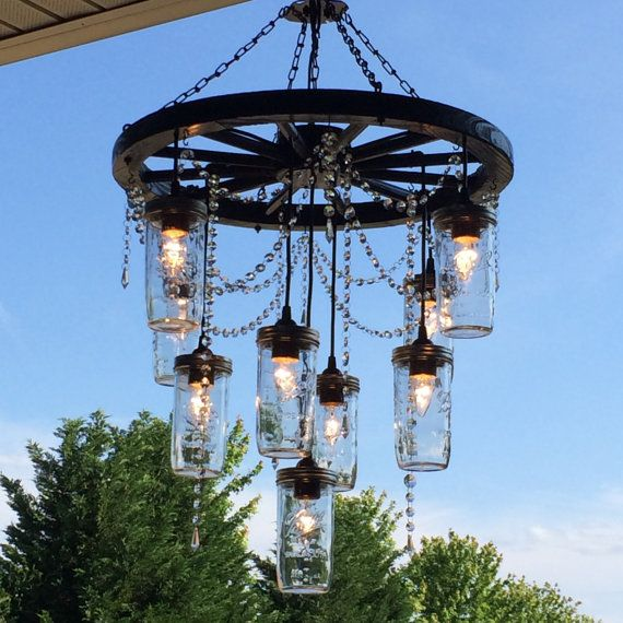 Wagon Wheel Chandelier with 3 tiers of by SouthernCharmByKaren