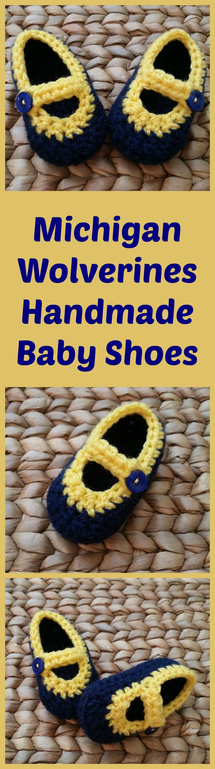 University of Michigan (U of M) Wolverine colors handmade baby shoes. Crocheted with deep blue and maize yarn, with blue buttons. Free shipping included with all orders. Great for U of M football fans!