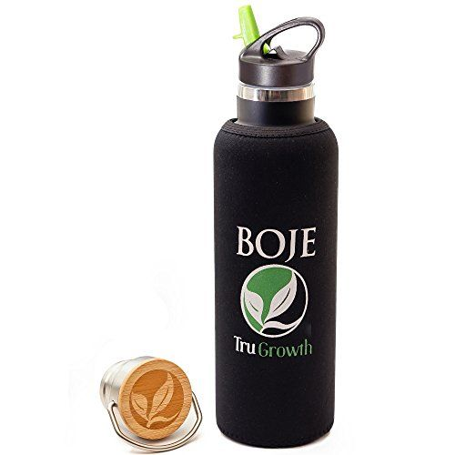 BOJE Insulated Water Bottle  25 oz Stainless Steel Water Bottle With Straw Double Walled Flip n Sip  Wide Mouth Cap  BONUS Fitted Neoprene Sleeve >>> Click image to review more details.