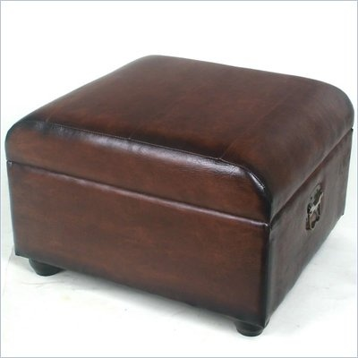 International Caravan Carmel Faux Leather Ottoman Trunk In Brown