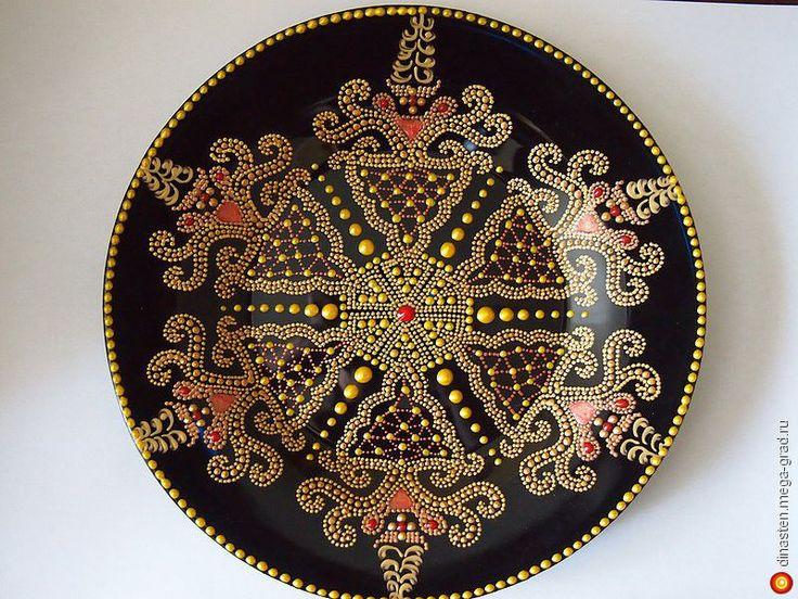 """Декоративная тарелка """" Золотое кружево"""" - стекло, авторская посуда для дома. МегаГрад - главный ресурс мастеров и художников"""