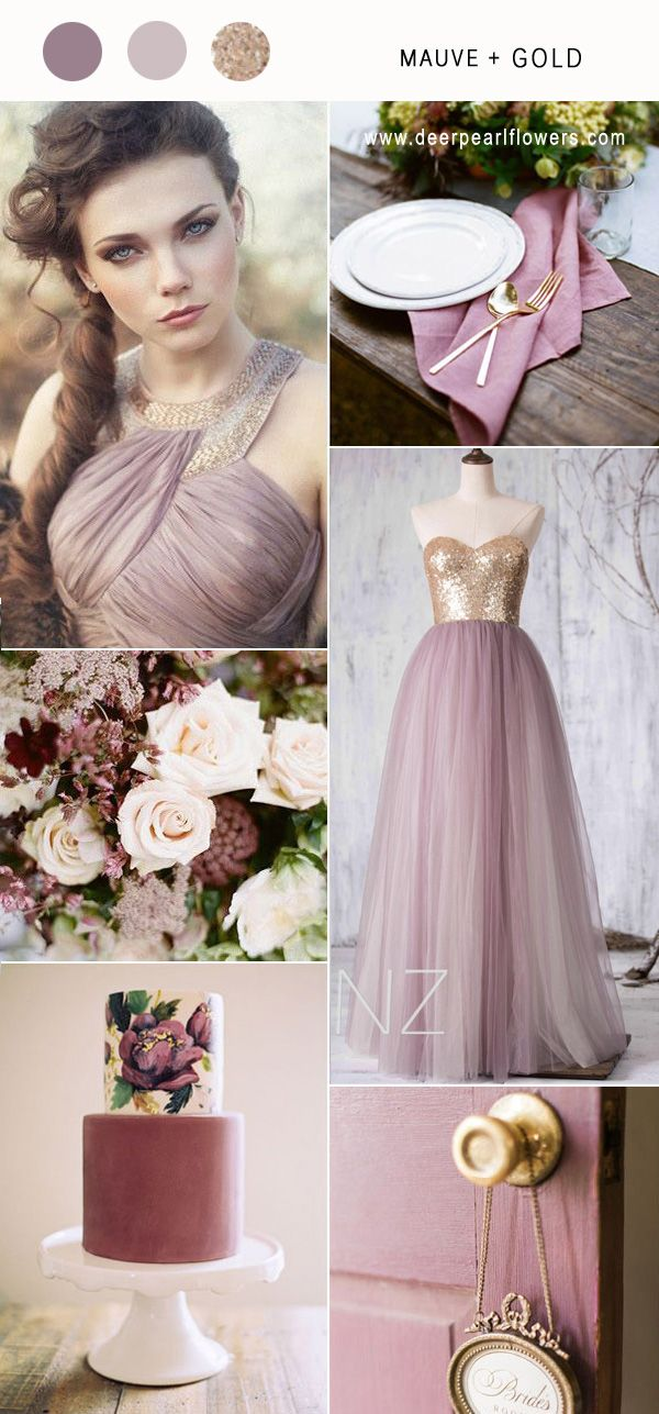 Mauve and gold wedding color ideas / http://www.deerpearlflowers.com/mauve-wedding-color-combos/ #purplewedding #mauvewedding #weddingcolors