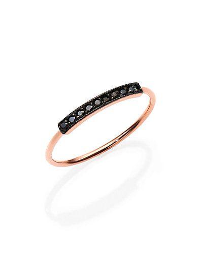 Zoe Chicco - Pavé Black Diamond & 14K Rose Gold Horizontal Bar Ring - Saks.com