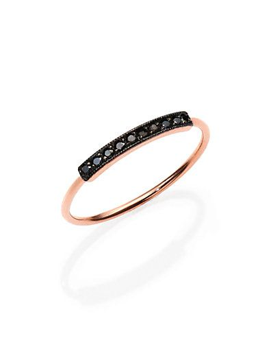 Zoe Chicco - Pavé Black Diamond & 14K Rose Gold Horizontal Bar Ring - Saks.com