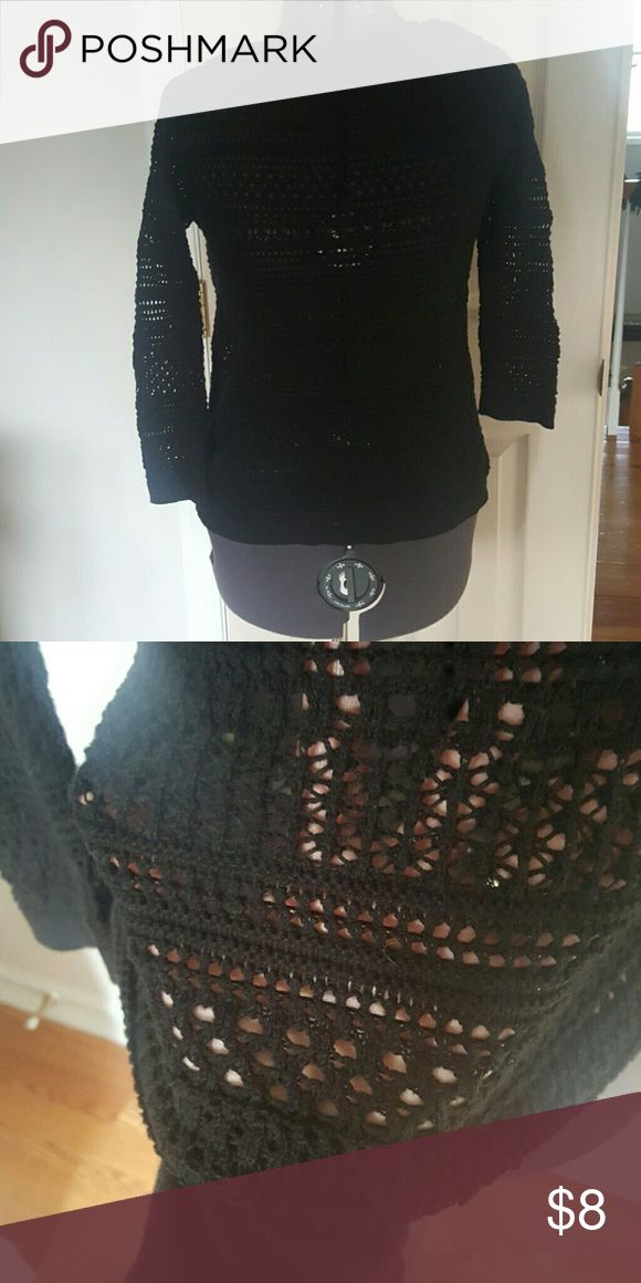 3/4 length black crochet sweater from Loft Great used condition,  like new.  Cute for the holidays with red under it. Really versatile wardrobe staple.  Smoke free,  pet free home. LOFT Sweaters