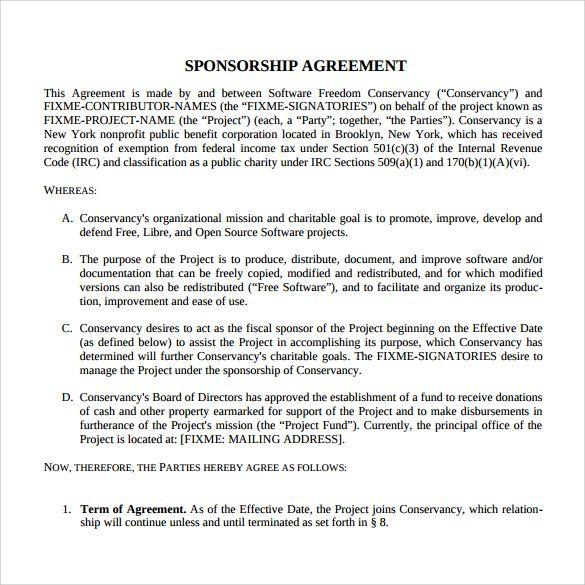 Sponsorship Agreement Template Templates Printable Free